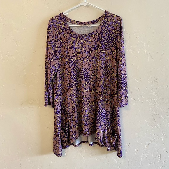 LOGO Lori Goldstein Purple Floral Print Tunic Top
